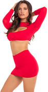 Stop & stare 2pc skirt set red, s/m