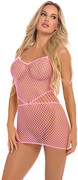 Roll up net mini dress pink, os