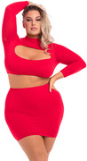 Stop & stare 2pc skirt set red, xl/2xl